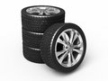 Automobile tires and wheels Stock Photos