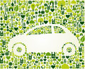 Automobile verde con le icone di eco messe Immagine Stock