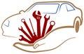 Automobile workshop logo Royalty Free Stock Photo