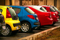 Automobiles of different colors Royalty Free Stock Photo