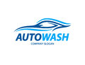 Automotive carwash logo design with abstract sports vehicle silhouette