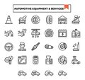 Automotive equipment and service outline design icon set.