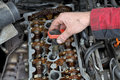 Automotive ignition coil car mechanic replacing on gasoline engine Stock Photo