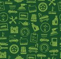 Car repair and maintenance, seamless pattern, green, colored, pencil hatching, vector. Royalty Free Stock Photo