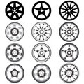 Automotive wheel with alloy wheels Stock Image