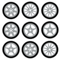 Automotive wheel with alloy wheels vector illustration Stock Photos