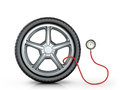 Automotive wheel with a pressure sensor on white background Stock Image