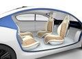 Autonomous car's interior concept. The car offer folding steering wheel, rotatable passenger seat