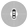 Autonomous car top view. Self driving vehicle.