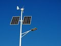 Autonomous street light lamp powered by solar panels and wind turbine Royalty Free Stock Photography
