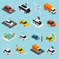 Autonomous Vehicle Isometric Icons Set Royalty Free Stock Photo