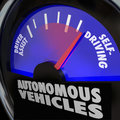 Autonomous vehicles self driving cars gauge the words on an automobile with the needle rising past driver assist to reach Royalty Free Stock Photography