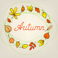 Autumn abstract background with circle from colorful leafs Stock Image