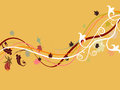 Autumn abstract floral music wave design Royalty Free Stock Photos