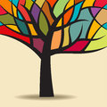Autumn abstract tree with colours