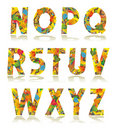Autumn alphabet set letters N - Z Stock Photo