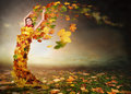 Autumn angel lady with wings from falling leaves Stock Photos