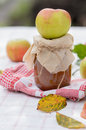 Autumn apple jam a jar a whole on a background of warm weather Stock Photography