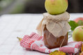 Autumn apple jam a jar a whole on a background of warm weather Royalty Free Stock Photography