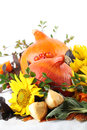 Autumn arrangement with pumpkins and sunflowers Royalty Free Stock Photo