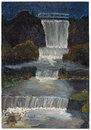 Autumn awterfall oil illustration waterfall night landscape handmade painted art on canvas isolated with patch Royalty Free Stock Photos