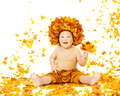 Autumn baby little kid sitting fall leaves yellow child boy in in crown with maple leaf isolated on white background Royalty Free Stock Image