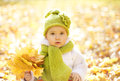 Autumn baby portrait in fall yellow leaves little child woolen hat beautiful kid park outdoor knitted clothing for october Royalty Free Stock Images