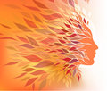 Autumn background abstract with a stylized image of a girl in profile Royalty Free Stock Photos