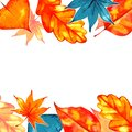 Autumn background border. Abstract artistic fall frame with a place for text Royalty Free Stock Photo