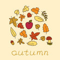 Autumn background with colored leafs and apple Royalty Free Stock Image