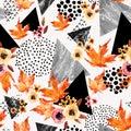 Autumn background: falling leaves, flowers, geometrical elements.
