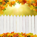 Autumn background with fence beautiful Stock Photos