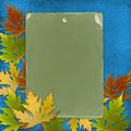 Autumn background with foliage and grunge paper Royalty Free Stock Photo