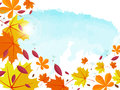 Autumn background. Frame for text decorated with autumn leaves.