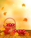 Autumn background with fresh fruit in basket heal healthy food vector illustration Royalty Free Stock Photography