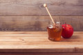 Autumn background with honey and apple Royalty Free Stock Photo