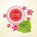 Autumn background with leafs and stars red and green vector illustration eps Stock Photos