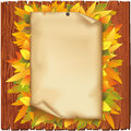 Autumn background with old paper and yellow leaves Royalty Free Stock Photo