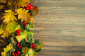 Autumn background from red briers and yellow leaves on wooden Stock Photo