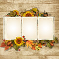Autumn background with stamp frame and leaves vintage cards for text or photo Royalty Free Stock Image
