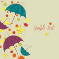 Autumn background umbrellas falling leaves and rain Stock Photography