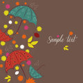 Autumn background umbrellas falling leaves and rain Stock Images