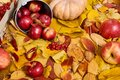 Autumn background from yellow leaves, apples, pumpkin. Fall season, eco food and harvest concept Royalty Free Stock Photo