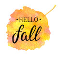 Autumn banner with textured brush lettering on abstract watercolor leaf shaped background. Hello fall. Hand drawn Royalty Free Stock Photo