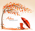 Autumn banners with trees and umbrella and rain boots. Royalty Free Stock Photo