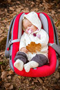 Autumn beautiful baby sleeping. Stock Photos