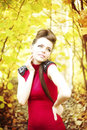 Autumn beauty woman portrait of beautiful young girl on nature Royalty Free Stock Photo