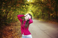 Autumn beauty woman portrait of beautiful young girl on nature Stock Photo