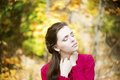 Autumn beauty woman portrait of beautiful young girl on nature Stock Photography