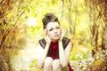 Autumn beauty woman portrait of beautiful young girl on nature Stock Images